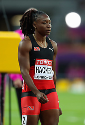 London, August 08 2017 . Semoy Hackett, Trinidad and Tobago, waits for the start of her women's 200m heat on day five of the IAAF London 2017 world Championships at the London Stadium. © Paul Davey.