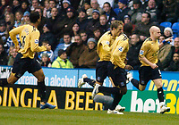 Photo: Gareth Davies.<br />Reading v Everton. The Barclays Premiership. 23/12/2006.<br />Everton's Andrew Johnson (Far Right) celebrates after making it 1-0.