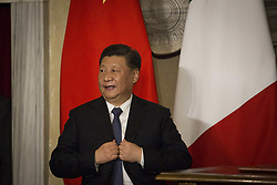 March 23, 2019 - Rome, Italy - Italy, Rome: China's President Xi Jinping  during a signing ceremony at Villa Madama in Rome on March 23, 2019 as part of a two-day visit to Italy. President Xi Jinping is in Italy to sign a memorandum of understanding to make Italy the first Group of Seven leading democracies to join China's ambitious Belt and Road infrastructure project. (Credit Image: © Christian Minelli/NurPhoto via ZUMA Press)