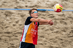 Yorick de Groot in action. The Final Day of the DELA NK Beach volleyball for men and women will be played in The Hague Beach Stadium on the beach of Scheveningen on 23 July 2020 in Zaandam.