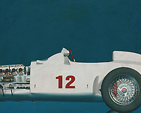 The Mercedes-Benz W 196 R designed for the 1954 season met all the demands of the new Grand Prix formula decreed by the sport's governing body, the CSI (Commission Sportive Internationale): a capacity of 750 cc with or 2500 cc without supercharger, free choice of gas mixture, a racing distance of 300 kilometres or a minimum of three hours. The streamlined version was completed first because the Reims race kicking off the season permitted very high speeds. After that there was also a version with exposed wheels.<br /> –<br /> <br /> <br /> BUY THIS PRINT AT<br /> <br /> FINE ART AMERICA<br /> ENGLISH<br /> https://janke.pixels.com/featured/1-mercedes-w196-silver-arrow-1954-jan-keteleer.html<br /> <br /> WADM / OH MY PRINTS<br /> DUTCH / FRENCH / GERMAN<br /> https://www.werkaandemuur.nl/nl/shopwerk/Mercedes-W196-Silver-Arrow-1954/545146/134