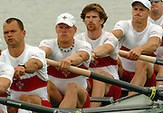 FISA World Cup Rowing Munich Germany..27/05/2004..Thursday morning opening heats...CAN M8+.left to right. Andrew Hoskins, Adam Kreek, Christopher Jarvis, Darren Barber. [Mandatory Credit: Peter Spurrier: Intersport Images].