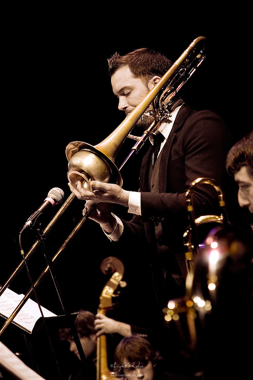 Matt Vernon on trombone and other members of the Lab Band unite to provide sweet sounds in Rowan University's 2010 autumn presentation of the Lab & Jazz Bands.