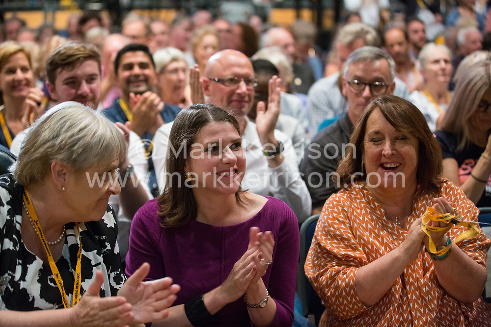Bournemouth, UK. 15 September, 2019. Jo Swinson, Leader of the Liberal Democrats, applauds the passing of the Stop Brexit motion during the Liberal Democrat Autumn Conference. Following a vote won by an overwhelming majority, the Liberal Democrats pledged to cancel Brexit if they win power at the next general election. This marks a shift in policy from their previous backing for a People's Vote. Credit: Mark Kerrison/Alamy Live News