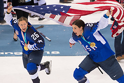 February 22, 2018 - Pyeongchang, South Korea - US Olympic Women's hockey team members KENDALL COYNE, left, and HILARY KNIGHT celebrate their 3-2 overtime win over Canada in the Women's Gold Medal Ice Hockey game Thursday, February 22, 2018 at Gangneung Hockey Centre at the Pyeongchang Winter Olympic Games. Photo by Mark Reis, ZUMA Press/The Gazette (Credit Image: © Mark Reis via ZUMA Wire)