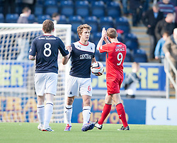 Falkirk's Blair Alston and Falkirk's Will Vaulks at the end.<br /> Falkirk 2 v 1 Raith Rovers, Scottish Championship game played today at The Falkirk Stadium.<br /> © Michael Schofield.