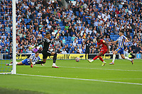 Football - 2021 / 2022 Premier League - Brighton & Hove Albion vs Watford - Amex Stadium - Saturday 21th August 2021<br /> <br /> Emmanuel Dennis of Watford scores but has his ruled out for offside at The Amex Stadium Brighton <br /> <br /> COLORSPORT/Shaun Boggust