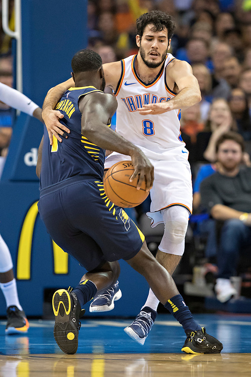 OKLAHOMA CITY, OK - OCTOBER 25:  Alex Abrines #8 of the Oklahoma City Thunder playing defense against Lance Stephenson #1 of the Indiana Pacers at the Chesapeake Energy Arena on October 25, 2017 in Oklahoma City, Oklahoma.  NOTE TO USER: User expressly acknowledges and agrees that, by downloading and or using this photograph, User is consenting to the terms and conditions of the Getty Images License Agreement.  The Thunder defeated the Pacers 114-96.  (Photo by Wesley Hitt/Getty Images) *** Local Caption *** Alex Abrines; Lance Stephenson