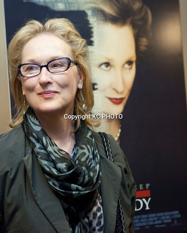 """Actress Meryl Streep speaks during a screening of her upcoming movie """"The Iron Lady,""""  at E street Cinema on November 29, 2011 in Washington DC. Photo by Graeme Jennings/KC PHOTO"""