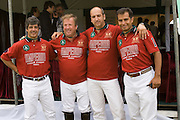 Nikolina Gora, Moscow Region, Russia, 25/06/2005..Victor Huaco [far right], founder of the Moscow Polo Club, with the Russky Standart Imperia Vodka team  at the Russian Polo Cup 2005, organised by the Russian Federation of Polo Players.