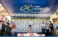 Best in young rider classification Tadej Pogacar (SLO) of Rog - Ljubljana celebrates in white jersey at trophy ceremony after the last Stage 4 of 24th Tour of Slovenia 2017 / Tour de Slovenie from Rogaska Slatina to Novo mesto (158,2 km) cycling race on June 18, 2017 in Slovenia. Photo by Vid Ponikvar / Sportida