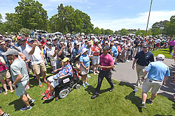 May 3, 2018 - Charlotte, NC, USA - Crowds gather near the walkway to the 3rd tee box as golfer Tiger Woods passes by during he first round of the Wells Fargo Championship at Quail Hollow Club in Charlotte, N.C., on Thursday, May 3, 2018. (Credit Image: © Jeff Siner/TNS via ZUMA Wire)