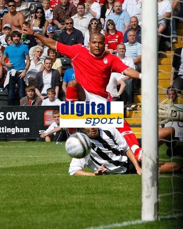 Photo: Steve Bond/Richard Lane Photography. Nottingham County v Nottigham Forest. Pre season Friendly. 25/07/2009. Rob Earnshaw watches his shot go across the face of the goal