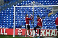 Gareth Bale of Wales and Aaron Ramsey of Wales ® during Wales football team training session at the Cardiff city stadium  in Cardiff, South Wales  on Monday 12th October 2015. The team are training ahead of their final Euro 2016 qualifying against Andorra tomorrow.<br /> pic by  Andrew Orchard, Andrew Orchard sports photography.