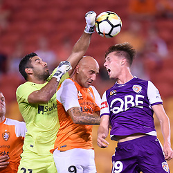 BRISBANE, AUSTRALIA - DECEMBER 21: Brisbane Roar goalkeeper Jamie Young punches the ball away during the Round 12 Hyundai A-League match between Brisbane Roar and Perth Glory on December 21, 2017 in Brisbane, Australia. (Photo by Patrick Kearney / Brisbane Roar FC)