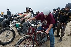 Go Takamine, Alex Trepanier and Shinya Kimura in the pits at TROG West - The Race of Gentlemen. Pismo Beach, CA, USA. Saturday October 15, 2016. Photography ©2016 Michael Lichter.