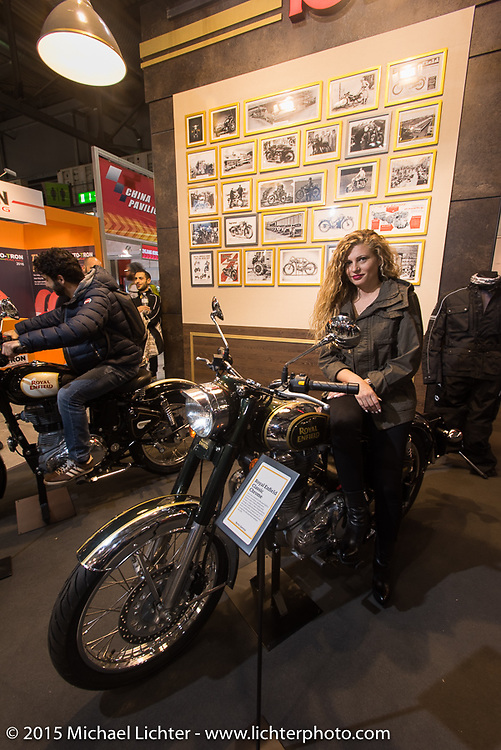 Royal Enfield's display area at EICMA, the largest international motorcycle exhibition in the world. Milan, Italy. November 21, 2015.  Photography ©2015 Michael Lichter.