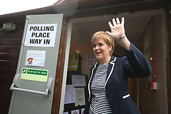 First Minister Nicola Sturgeon arrives to cast her vote in the General Election at a polling station at Broomhouse Community Hall in Glasgow.
