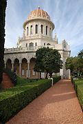 Haifa, Israel, Bahai Shrine of the Bab and the surrounding gardens.