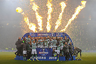 Celtic celebrate winning the Betfred Cup Final between Celtic and Aberdeen at Hampden Park, Glasgow, United Kingdom on 2 December 2018.
