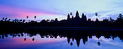 CAMBODIA, ANGKOR,  Angkor Wat, pond, at sunrise