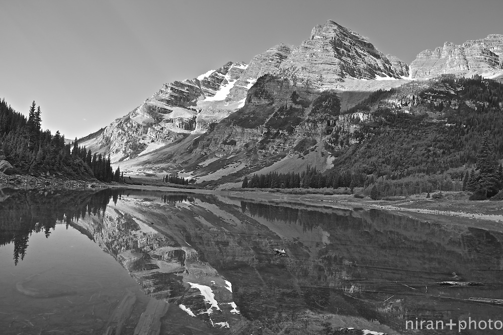 A classic shot of the Crater Lake reflecting the glorious Maroon Bells at the proper start of the Four Pass Loop Trail.