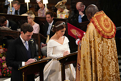 The Archbishop of York Dr John Sentamu during the wedding ceremony of Princess Eugenie to Jack Brooksbank at St George's Chapel in Windsor Castle.