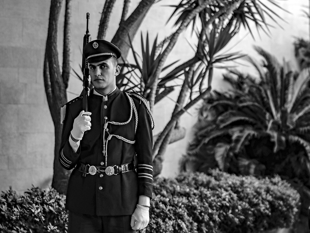 An Honor Guard stands outside the presidential palace in Baabda, Lebanon.