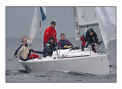 Racing at the Bell Lawrie Yachting Series in Tarbert Loch Fyne ..Winning Sportsboat a Benateau 25 helmed by Andy Lightbown, called Warthog..