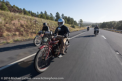 Doug Jones riding his 1914 Indian Model 260 Standard as he passes Kelly Modlin on his Excelsior during the Motorcycle Cannonball Race of the Century. Stage-13 ride from Williams, AZ to Lake Havasu CIty, AZ. USA. Friday September 23, 2016. Photography ©2016 Michael Lichter.