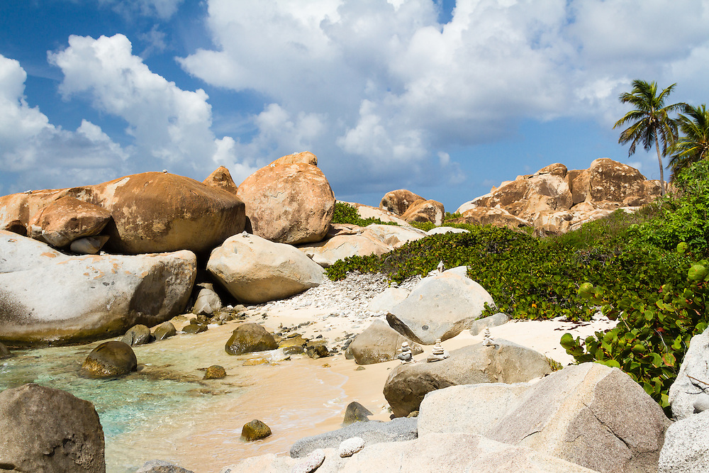 An out of the way spot in Devil's Bay (The Baths) National Park on Virgin Gorda in the Britsih Virgin Islands. These rare granite boulders make this area and create grottos, pools and rooms along the beach.