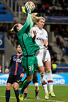 Ann Katrin Berger of PSG and Ada Hegerberg of Lyon in action during the Women's French Championship D1 football match between Paris Saint Germain and Olympique Lyonnais on February 5, 2016 at Charlety stadium in Paris, France - Photo Jean Marie Hervio / Regamedia / DPPI