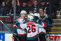 KELOWNA, CANADA - MARCH 3:  Nolan Foote #29, Liam Kindree #26 and Lassi Thomson #2 of the Kelowna Rockets celebrate a goal against the Portland Winterhawks on March 3, 2019 at Prospera Place in Kelowna, British Columbia, Canada.  (Photo by Marissa Baecker/Shoot the Breeze)