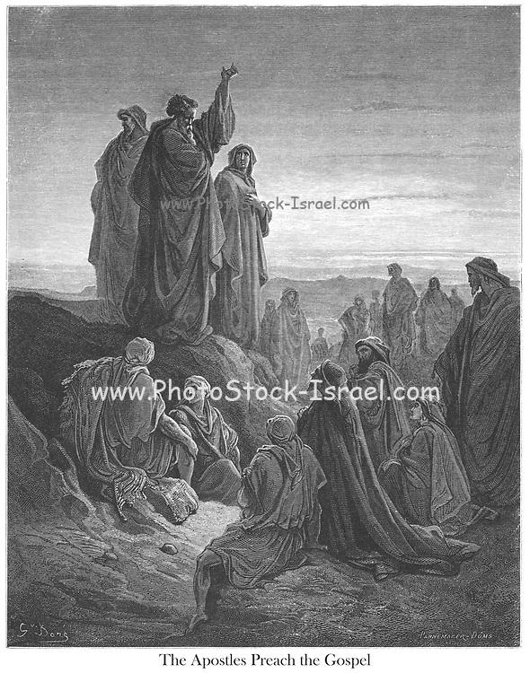 The Apostles Preaching the Gospel [Acts 2:32-33] From the book 'Bible Gallery' Illustrated by Gustave Dore with Memoir of Dore and Descriptive Letter-press by Talbot W. Chambers D.D. Published by Cassell & Company Limited in London and simultaneously by Mame in Tours, France in 1866