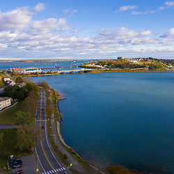 I-295 crosses the water between Casco Bay and Back Cove (foreground) in Portland, Maine.