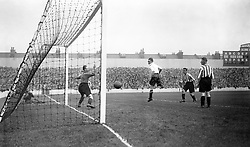 File photo dated 07-10-1933 of Tottenham Hotspur's George Hunt scores a header past Sunderland goalkeeper James 'Jimmy' Thorpe, but the goal is ruled out for off-side during the game at White Hart Lane.