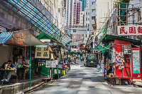 Central, Hong Kong, China- June 4, 2014: people and restaurants in Elgin Street at Soho