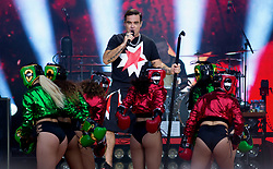 Robbie Williams performs on stage in a Kilt at London Stadium in Stratford, East London on 23 June 2017.<br /> (14 Days Usage and Editorial Usage Only)<br /><br />23 June 2017.<br /><br />Please byline: Vantagenews.com