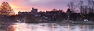 Winter dawn over the River Thames and Windsor Castle, Berkshire, Uk