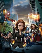 Caricature: Iron Man - Robert Downey Jr.; The Hulk - Mark Ruffalo; Hawk Eye - Jeremy Renner; Black Widow - Scarlett Johansson; Captain America - Chris Evans; Thor - Chris Hemsworth. Originally published in Penhouse Magazine.