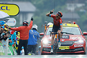 LE GRAND BORNAND, FRANCE - July 03 : TEUNS Dylan (BEL) of BAHRAIN VICTORIOUS celebrates the win during stage 8 of the 108th edition of the 2021 Tour de France cycling race, a stage of 150,8 kms between Oyonnax and Le Grand Bornand on July 3, 2021 in Le Grand Bornand, France, 3/07/2021