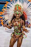 Samba dancer in the Carnaval parade of Unidos de Bangu samba school in the Sambadrome, Rio de Janeiro, Brazil.