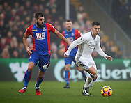 Crystal Palace's Joe Ledley tussles with Chelsea's Eden Hazard during the Premier League match at Selhurst Park Stadium, London. Picture date December 17th, 2016 Pic David Klein/Sportimage