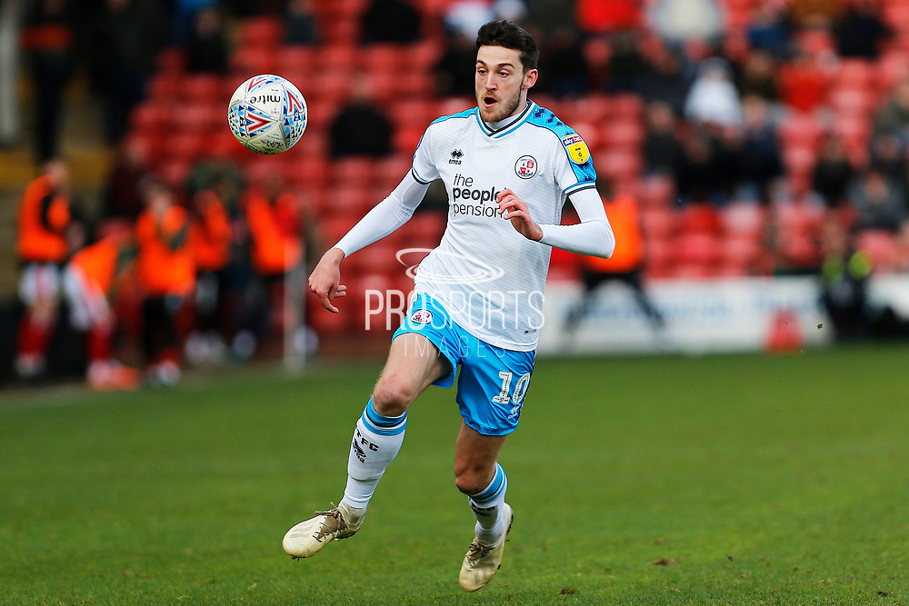 Ashley Nadesan chases the ball during the EFL Sky Bet League 2 match between Walsall and Crawley Town at the Banks's Stadium, Walsall, England on 18 January 2020.