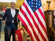 01 JANUARY 2020 - CRESTON, IOWA: US Senator CORY BOOKER (D-NJ) waits to speak before a campaign event at Adams Street Espresso in Creston, IA. Sen. Booker is campaigning in Iowa to support his candidacy for the US Presidency. Iowa traditionally holds the first event of the presidential election cycle. The Iowa caucuses are Feb. 3, 2020.      PHOTO BY JACK KURTZ