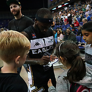 London, England, UK. 24th September 2017. Saah Nimley is a Liberian professional basketball player for Newcastle Eagles signing autograph for fans at Betway British Basketball All-Stars Championship at The O2