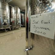 VARNA, ITALY - OCTOBER 13: A Sylvaner 2010 sign on an aluminium  barrel in the modern cellar at Abbazia di Novacella on October 13, 2010 in Varna, Italy. Abbazia di Novacella, in Alto Adige established in the year 1142 by Augustinian monks, is one of the oldest vineries in the world; it has a production of about 400,000 bottles of world class wines including Kerner, Sylvaner, Pinot Grigio, Gewurztraminer.