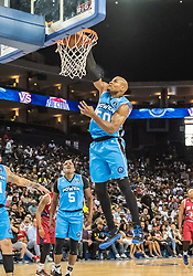 July 6, 2018 - Oakland, CA, U.S. - OAKLAND, CA - JULY 06: Corey Maggette (50) captain of Power smashes the ball through the hoop during game 3 in week three of the BIG3 3-on-3 basketball league on Friday, July 6, 2018 at the Oracle Arena in Oakland, CA (Photo by Douglas Stringer/Icon Sportswire) (Credit Image: © Douglas Stringer/Icon SMI via ZUMA Press)