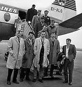 Irish Rugby Football Union, Ireland v Scotland, Five Nations, Scottish team arrive at Dublin airport, Dublin, Ireland, Thursday 22nd February, 1962,.22.2.1962, 2.22.1962,..Scottish Team, ..K J F Scotland, Wearing number 15 Scottish jersey,  Full Back, Leicester Rugby Football Club, Leicester, England, ..R C Cowan, Wearing number 11 Scottish jersey,  Left Wing, Selkirk Rugby Football Club, Selkirk, Scotland, ..I H P Laughland, Wearing number 12 Scottish jersey, Left Centre, London Scottish Rugby Football Club, Surrey, England, ..J J McPartlin, Wearing number 13 Scottish jersey,  Right Centre, Oxford University Rugby Football Club, Oxford, England,..A R Smith, Wearing number 14 Scottish jersey, Captain of the Irish team,  Right Wing, Edinburgh University Rugby Football Club, Edinburgh, Scotland, ..G H Waddell, Wearing number 10 Scottish jersey,  Stand Off, London Scottish Rugby Football Club, Surrey, England, ..S Coughtrie, Wearing number 9 Scottish jersey,  Scrum Half, Edinburgh Academical Rugby Football Club, Edinburgh, Scotland, ..H F McLeod, Wearing number 1 Scottish jersey,  Forward,  Hawick Rugby Football Club, Hawick, Scotland, ..N S Bruce, Wearing number 2 Scottish jersey,  Forward, London Scottish Rugby Football Club, Surrey, England, ..R Steven , Wearing number 3 Scottish jersey, Forward, Edinburgh Wanderers Rugby Football Club, Edinburgh, Scotland, ..F H ten Bos, Wearing number 4 Scottish jersey,  Forward, London Scottish Rugby Football Club, Surrey, England, ..M J Campbell-Lamberton, Wearing number 5 Scottish jersey, Forward, Halifax Rugby Football Club, Yorkshire, England, ..R J C Glasgow, Wearing number 6 Scottish jersey,  Forward, Dunfermline Rugby Football Club, Fife, Scotland, ..J Douglas, Wearing number 8 Scottish jersey, Forward, Stewarts College Rugby Football Club, Edinburgh, Scotland, ..K I Ross, Wearing number 7 Scottish jersey, Forward, Boroughmuir Rugby Football Club, Edinburgh, Scotland,