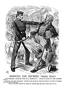 """Silencing the Trumpet. (after Aesop.) Fenian Trumpeter. """"Spare me, good sir, I beseech you. I have no arms but this trumpet only!"""" Constable. """"No, you vagabone! Without the spirit to fight yourself, you stir up others to was and bloodshed."""" Moral. He who incites to strife is worse than he who takes part in it."""